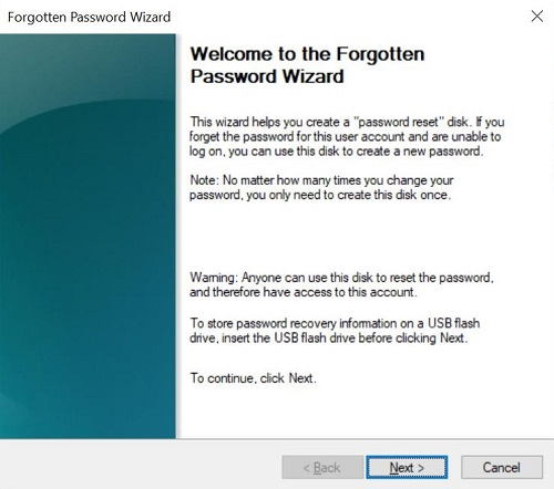 fogotten password wizard