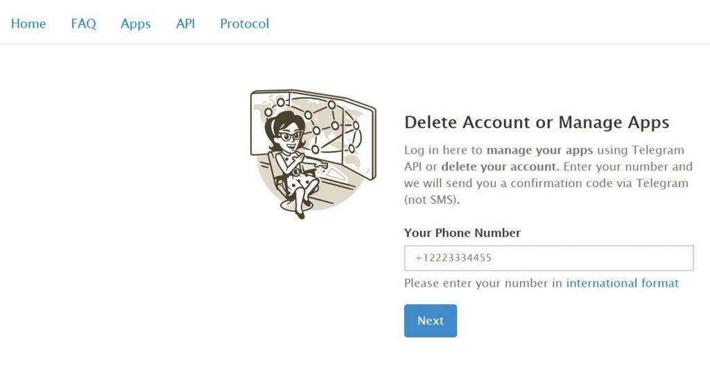 Telegram deactivation page