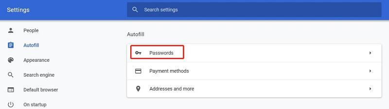 tap passwords
