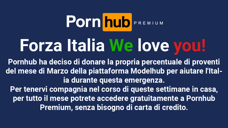 Pornhub allows Italians to watch premium content for free